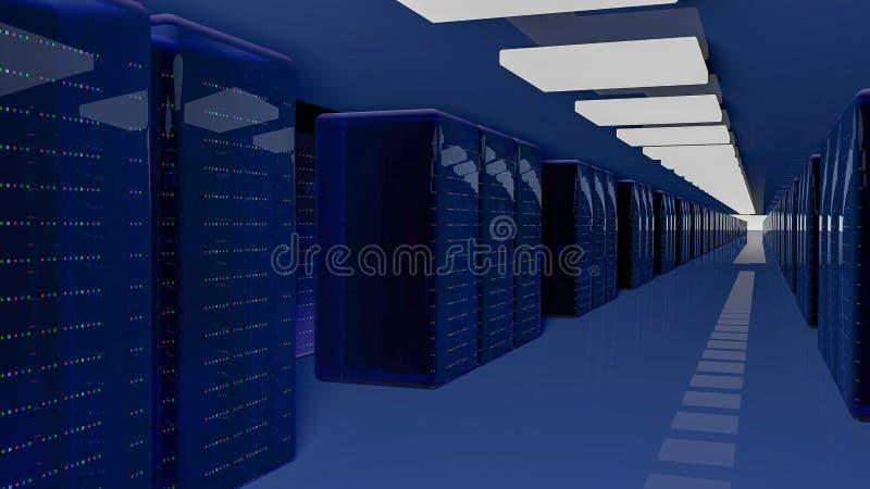 Κέντρο δεδομένων δωματίων κεντρικών υπολογιστών τρισδιάστατος δώστε απεικόνιση αποθεμάτων