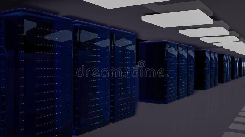 Κέντρο δεδομένων δωματίων κεντρικών υπολογιστών τρισδιάστατος δώστε διανυσματική απεικόνιση