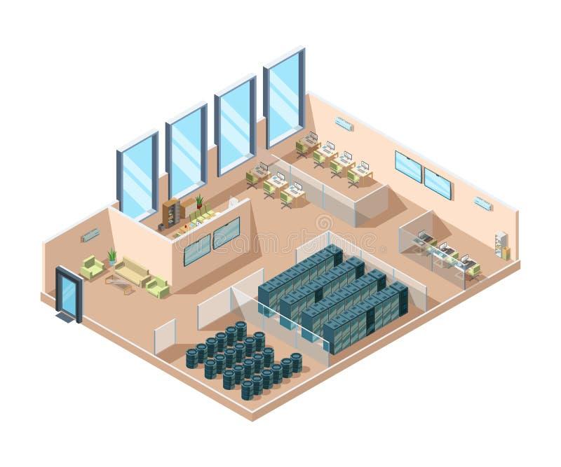 Κέντρο δεδομένων Υπολογιστών κεντρικών υπολογιστών δωματίων εσωτερικό δροσίζοντας γεννητριών μπαταριών κτήριο κέντρων δεδομένων ε διανυσματική απεικόνιση