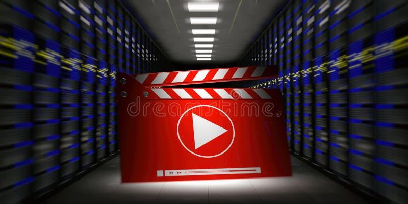 Κέντρο δεδομένων - δωμάτιο υπολογιστών και clapper κινηματογράφων τρισδιάστατη απεικόνιση απεικόνιση αποθεμάτων