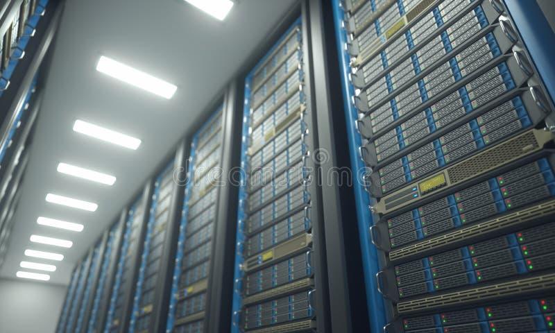 Κέντρο δεδομένων δωματίων κεντρικών υπολογιστών ελεύθερη απεικόνιση δικαιώματος