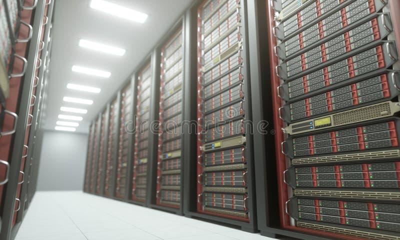 Κέντρο δεδομένων δωματίων κεντρικών υπολογιστών απεικόνιση αποθεμάτων