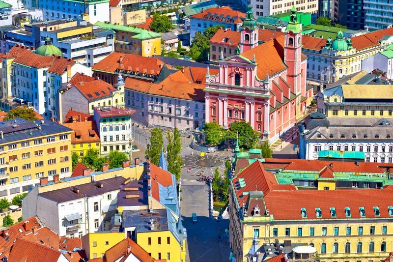 Κέντρο πόλεων του Λουμπλιάνα και τετραγωνική εναέρια άποψη Presern στοκ εικόνες