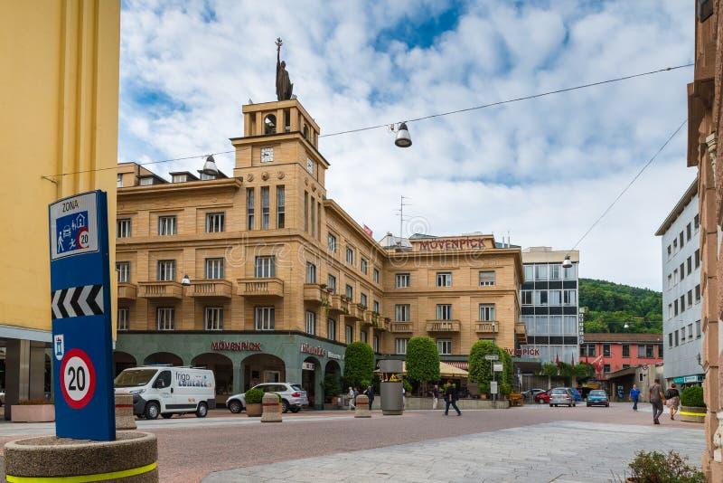 Κέντρο πόλεων Chiasso, καντόνιο Ticino, Ελβετία στοκ εικόνες