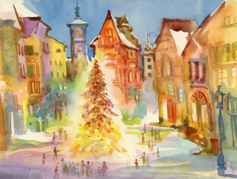 Κέντρο πόλεων διακοπών Χριστουγέννων η διακοσμητική εικόνα απεικόνισης πετάγματος ραμφών το κομμάτι εγγράφου της καταπίνει το wat απεικόνιση αποθεμάτων