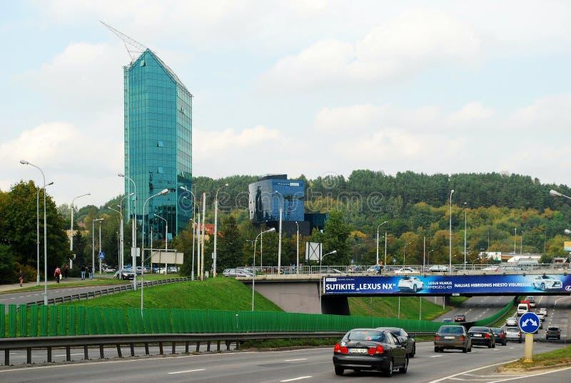 Κέντρο πόλεων Vilnius που πυροβολείται από την περιοχή Zverynas στοκ φωτογραφία με δικαίωμα ελεύθερης χρήσης