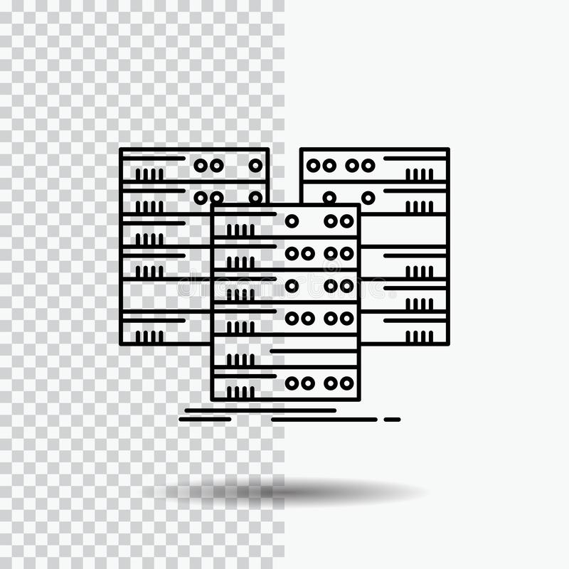 Κέντρο, κέντρο, στοιχεία, βάση δεδομένων, εικονίδιο γραμμών κεντρικών υπολογιστών στο διαφανές υπόβαθρο Μαύρη διανυσματική απεικό διανυσματική απεικόνιση
