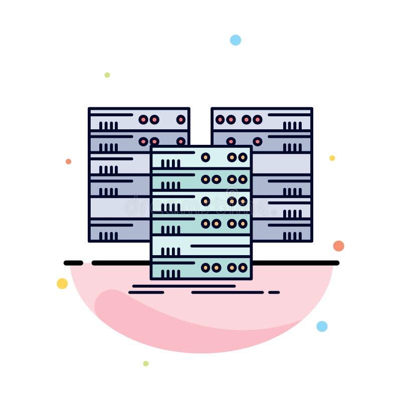 Κέντρο, κέντρο, στοιχεία, βάση δεδομένων, επίπεδο διάνυσμα εικονιδίων χρώματος κεντρικών υπολογιστών απεικόνιση αποθεμάτων