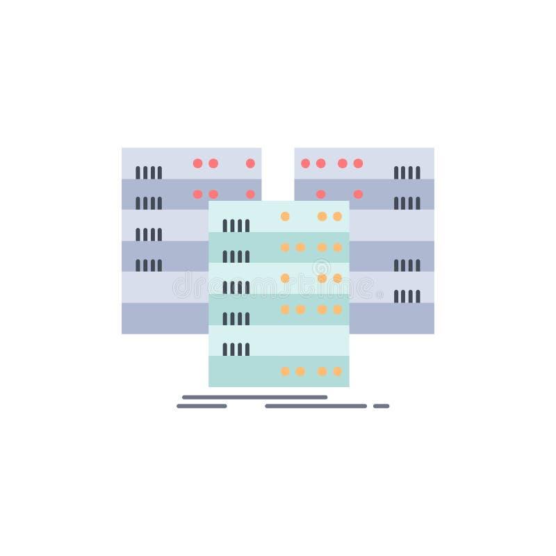 Κέντρο, κέντρο, στοιχεία, βάση δεδομένων, επίπεδο διάνυσμα εικονιδίων χρώματος κεντρικών υπολογιστών διανυσματική απεικόνιση