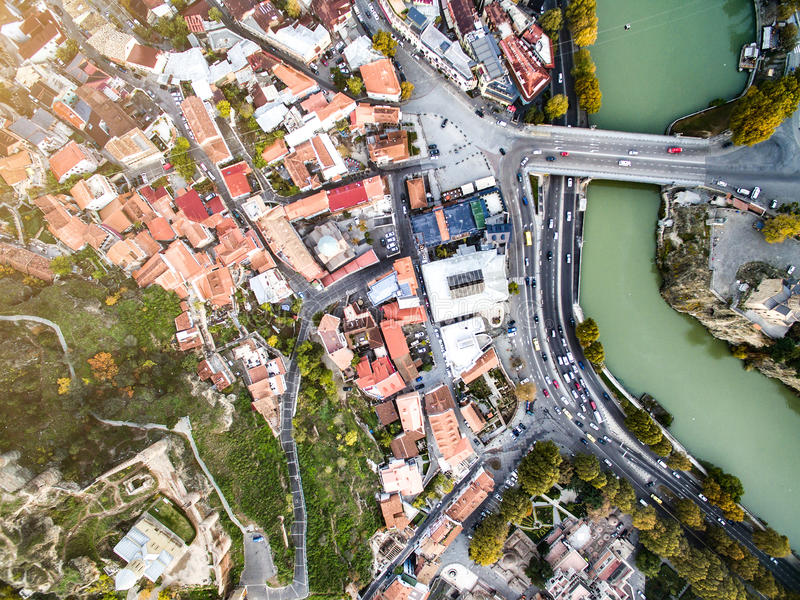 Κέντρο της πόλης του Tbilisi, Γεωργία, εναέρια στοκ εικόνες