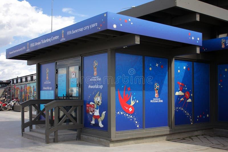 Κέντρο FVTC επικόλλησης ετικέτας τόπων συναντήσεως της FIFA στο ανάχωμα του Κρεμλίνου Kazan, στοκ εικόνα με δικαίωμα ελεύθερης χρήσης
