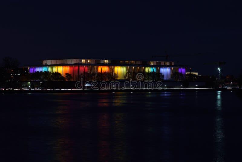 Κέντρο Kennedy τη νύχτα στοκ εικόνα με δικαίωμα ελεύθερης χρήσης