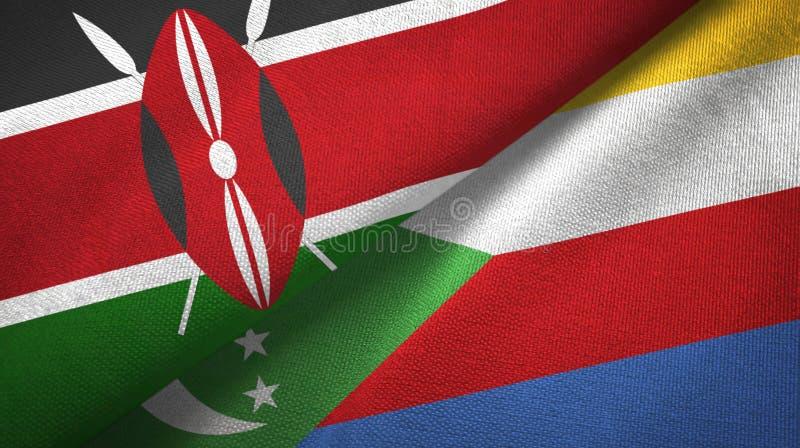 Κένυα και Κομόρες δύο υφαντικό ύφασμα σημαιών, σύσταση υφάσματος διανυσματική απεικόνιση