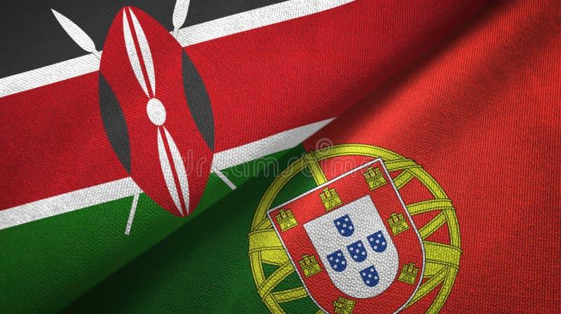 Κένυα και Πορτογαλία δύο υφαντικό ύφασμα σημαιών, σύσταση υφάσματος ελεύθερη απεικόνιση δικαιώματος