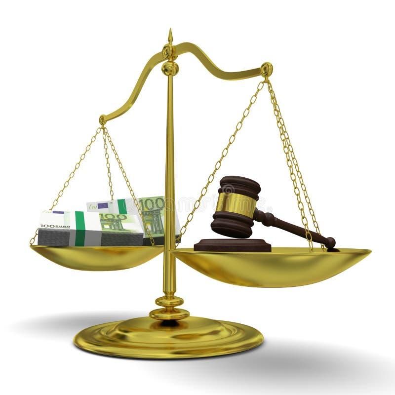 Κέρδος εναντίον της δικαιοσύνης διανυσματική απεικόνιση