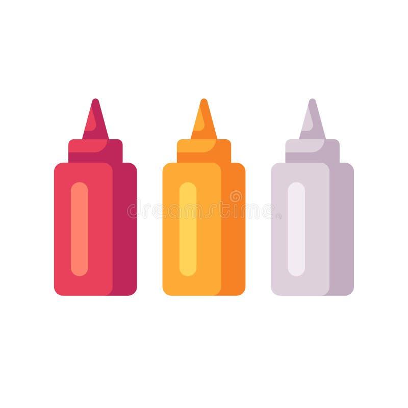 Κέτσαπ, μουστάρδα, μπουκάλια μαγιονέζας Σωλήνες σάλτσας διανυσματική απεικόνιση