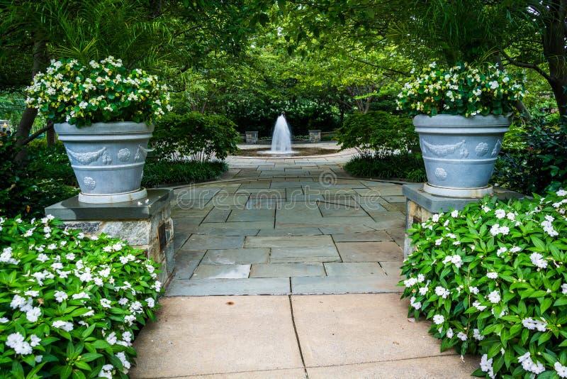 Κήποι και πηγές στον κήπο της Mary, στη βασιλική του τ στοκ εικόνα