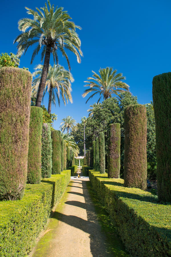 Κήποι στο Alcazar, Σεβίλη, Ανδαλουσία, Ισπανία στοκ εικόνες