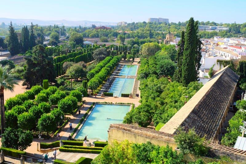 Κήποι του Alcazar Castle, Κόρδοβα στοκ εικόνα
