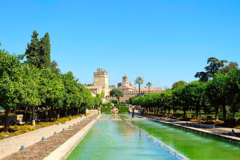 Κήποι του Alcazar Castle, Κόρδοβα στοκ εικόνες