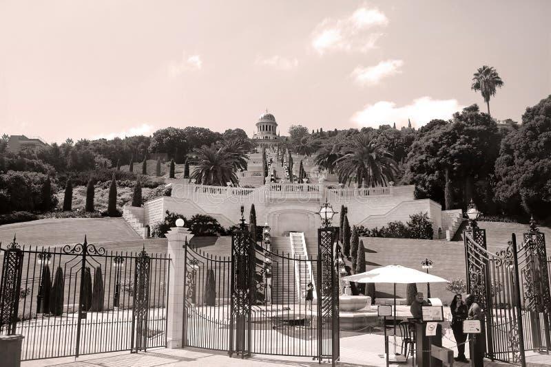 Κήποι Bahai και ναός στις κλίσεις του βουνού της Carmel, Χάιφα, Ισραήλ στοκ φωτογραφία