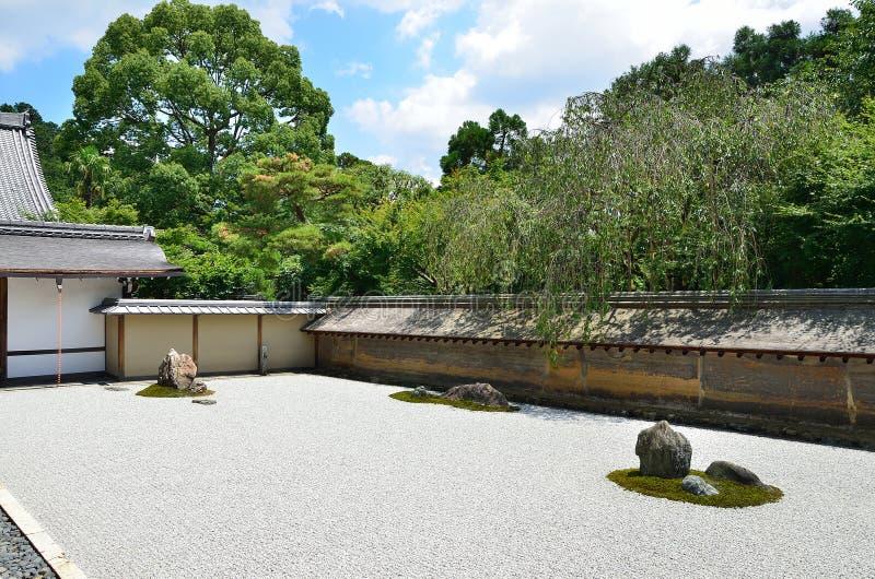Κήπος βράχου της Zen, καλοκαίρι του Κιότο Ιαπωνία στοκ φωτογραφίες