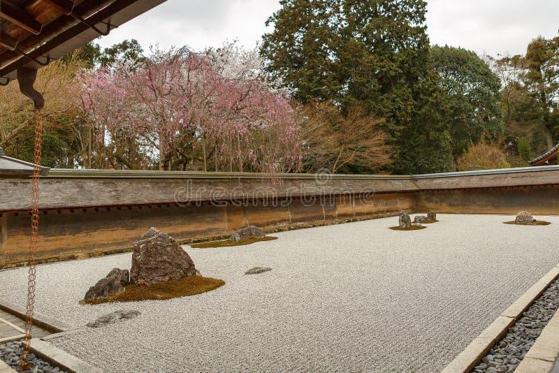 Κήπος βράχου της Zen στο ναό Ryoanji στην άνοιξη στοκ φωτογραφίες με δικαίωμα ελεύθερης χρήσης
