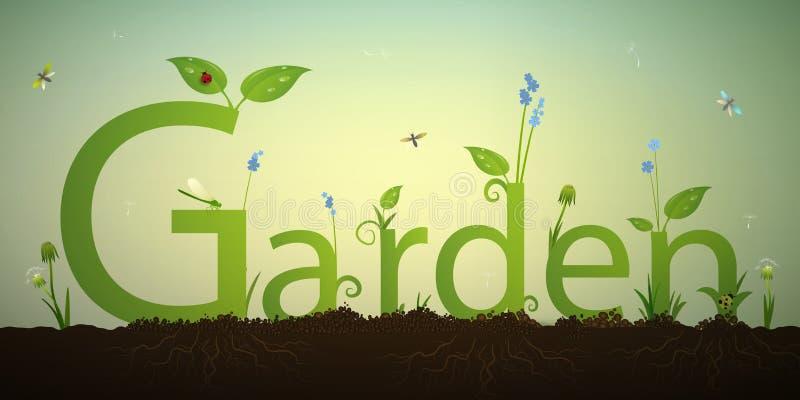 Κήπος επιστολών κειμένων και πράσινος νεαρός βλαστός άνοιξης με τις ρίζες και το κόκκινο ladybug στο χώμα, επιγραφή θερινών κήπων ελεύθερη απεικόνιση δικαιώματος