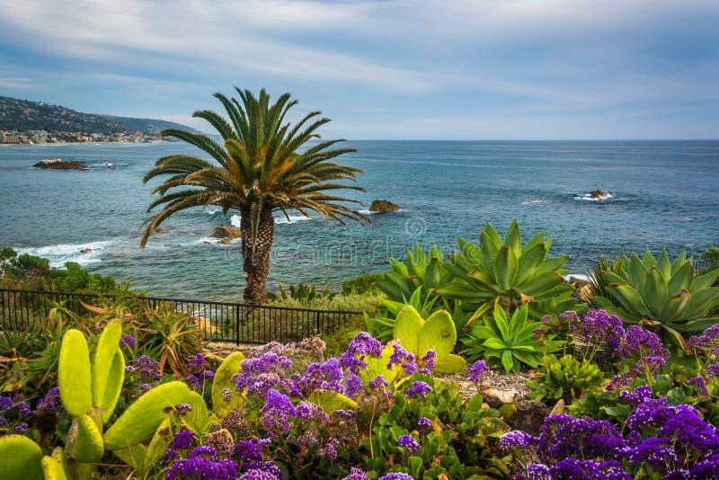 Κήπος και άποψη του Ειρηνικού Ωκεανού στο πάρκο Heisler, Laguna στοκ φωτογραφίες
