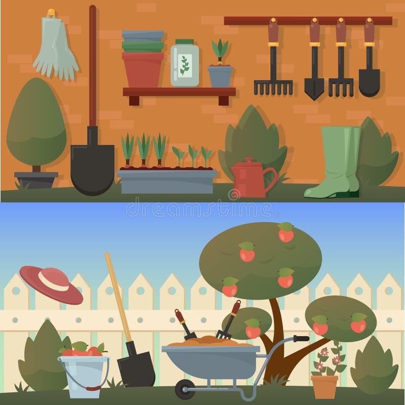 Κήπος και γεωργικά εξαρτήματα ή εργαλεία απεικόνιση αποθεμάτων