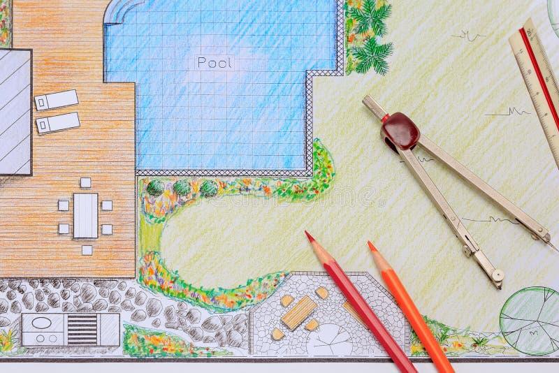 Κήπος κατωφλιών και σχέδιο σχεδίου λιμνών για τη βίλα στοκ εικόνες με δικαίωμα ελεύθερης χρήσης