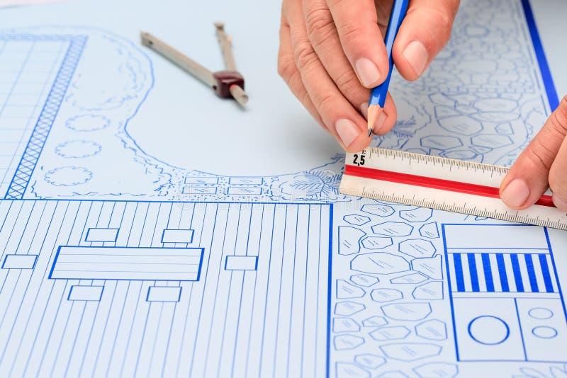 Κήπος κατωφλιών σχεδιαγραμμάτων και σχέδιο σχεδίου λιμνών στοκ φωτογραφίες