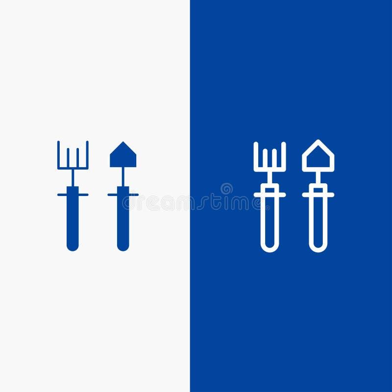 Κήπος, κηπουρός, τσουγκράνα, γραμμή φτυαριών και στερεά γραμμή εμβλημάτων εικονιδίων Glyph μπλε και στερεό μπλε έμβλημα εικονιδίω διανυσματική απεικόνιση