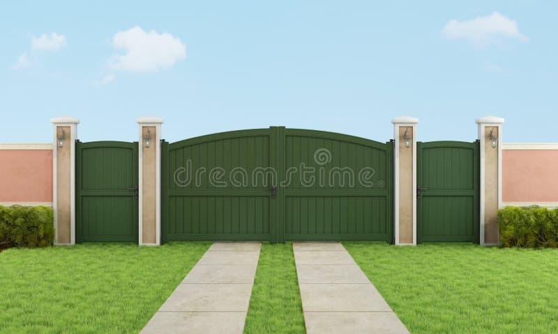 Κήπος με τη μεγάλη driveway πύλη απεικόνιση αποθεμάτων