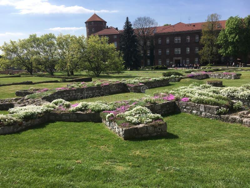 Κήπος του κάστρου Wawel στοκ εικόνες