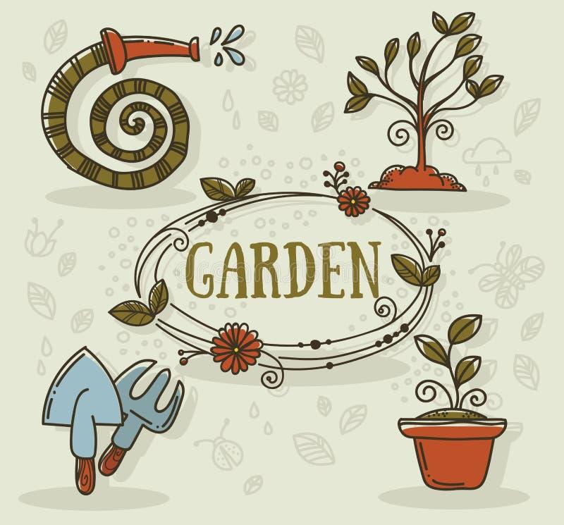 Κήπος doodles διανυσματική απεικόνιση