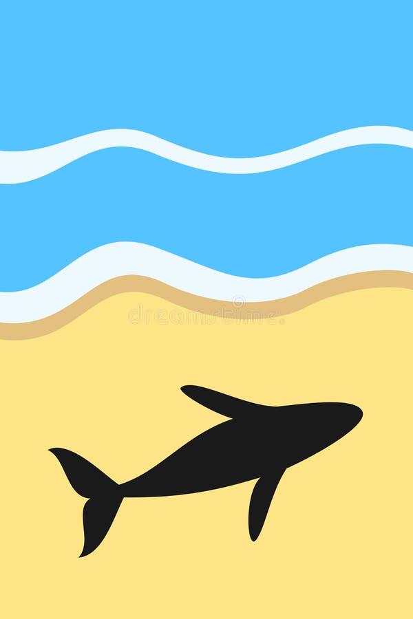 Κήτος που προσαράσσει και που - η φάλαινα, το ψάρι και το ζώο πεθαίνουν στην ξηρά θέση στην παραλία ελεύθερη απεικόνιση δικαιώματος