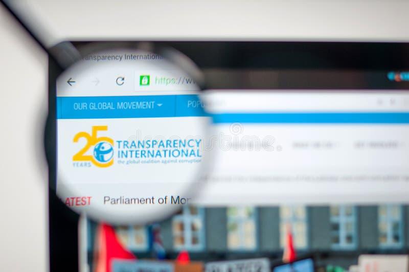 Κίεβο, Ουκρανία - 6 Απριλίου 2019: Αρχική σελίδα ιστοχώρου της Διεθνούς Διαφάνειας στοκ εικόνα