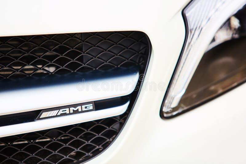 Κίεβο, Ουκρανία - 4 Οκτωβρίου 2016: Benz της Mercedes εμπειρία αστεριών Η ενδιαφέρουσα σειρά τεστ δοκιμής Το λογότυπο AMG στοκ εικόνα