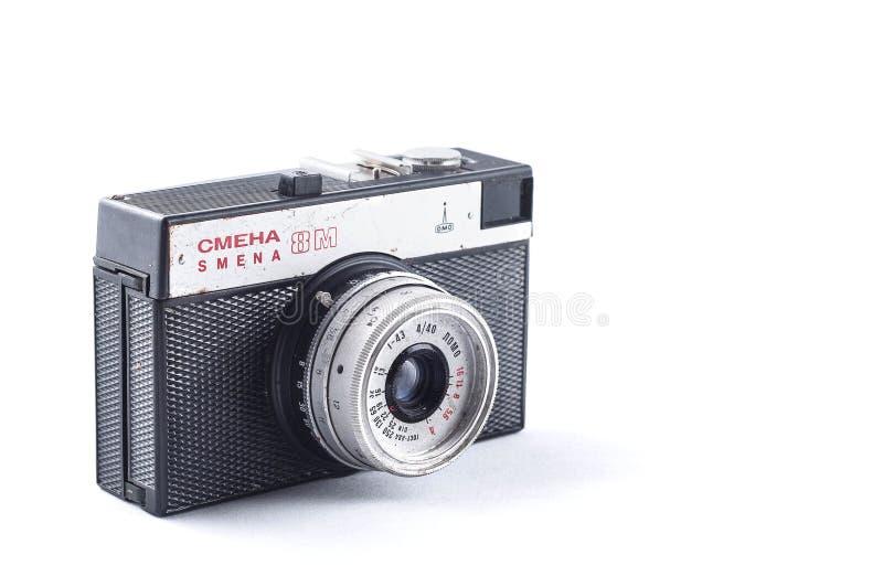 Κίεβο, Ουκρανία - 28 Φεβρουαρίου 2019: εκλεκτής ποιότητας κάμερα smena 8 μ η εκλεκτής ποιότητας με το φακό lomo στο άσπρο υπόβαθρ στοκ φωτογραφία