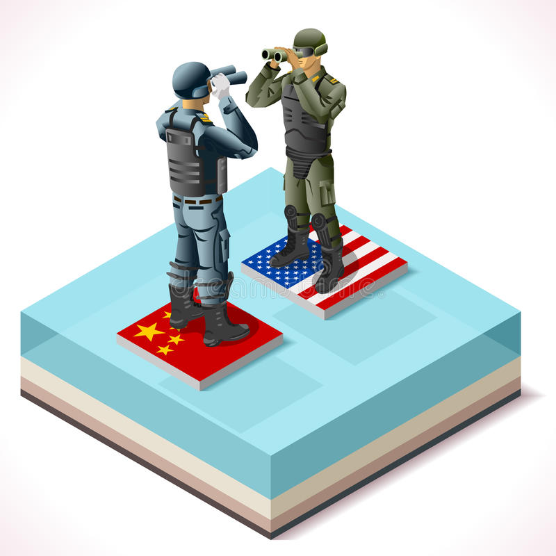 Κίνα ΗΠΑ 01 Infographic Isometric ελεύθερη απεικόνιση δικαιώματος