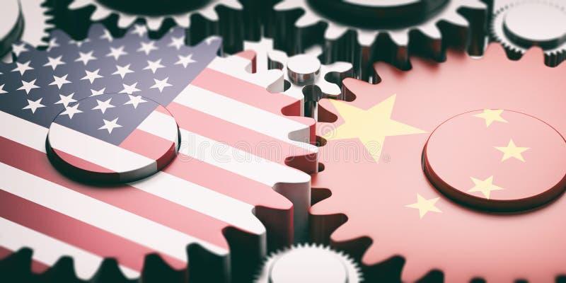 Κίνα και ΗΠΑ των σημαιών της Αμερικής cogwheels μετάλλων τρισδιάστατη απεικόνιση διανυσματική απεικόνιση