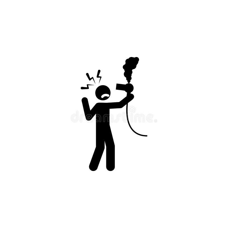 κίνδυνος, εικονίδιο στεγνωτήρων τρίχας Στοιχείο του ανθρώπινου εικονιδίου σημαδιών κινδύνου για την κινητούς έννοια και τον Ιστό  απεικόνιση αποθεμάτων