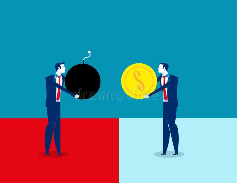 Κίνδυνος Επιχειρηματίες και επικίνδυνη διαπραγμάτευση r Επίπεδος χαρακτήρας, σχέδιο ύφους κινούμενων σχεδίων διανυσματική απεικόνιση
