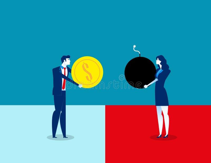 Κίνδυνος Επιχειρηματίες και επικίνδυνη διαπραγμάτευση r Επίπεδος χαρακτήρας, σχέδιο ύφους κινούμενων σχεδίων απεικόνιση αποθεμάτων