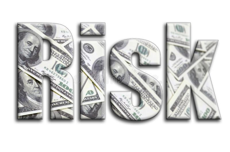 κίνδυνος Η επιγραφή έχει μια σύσταση της φωτογραφίας, η οποία απεικονίζει πολλούς λογαριασμούς αμερικανικών δολαρίων στοκ εικόνες με δικαίωμα ελεύθερης χρήσης