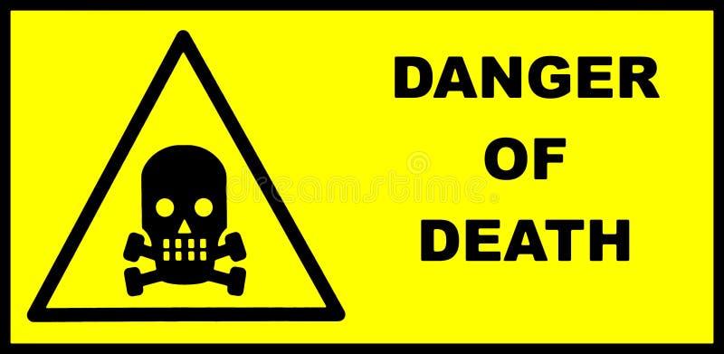 Κίνδυνος του σημαδιού θανάτου με το κρανίο και τα κόκκαλα και του κειμένου στο δικαίωμα ελεύθερη απεικόνιση δικαιώματος