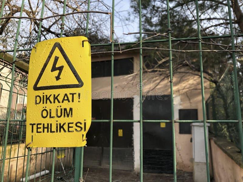 Κίνδυνος του σημαδιού θανάτου στο φράκτη στον Τούρκο στοκ φωτογραφίες
