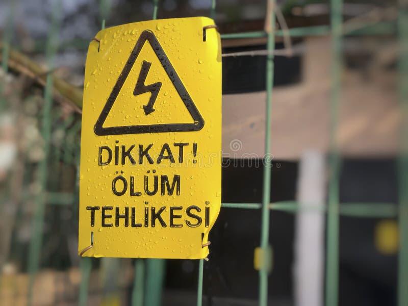 Κίνδυνος του σημαδιού θανάτου στο φράκτη στον Τούρκο στοκ εικόνα με δικαίωμα ελεύθερης χρήσης
