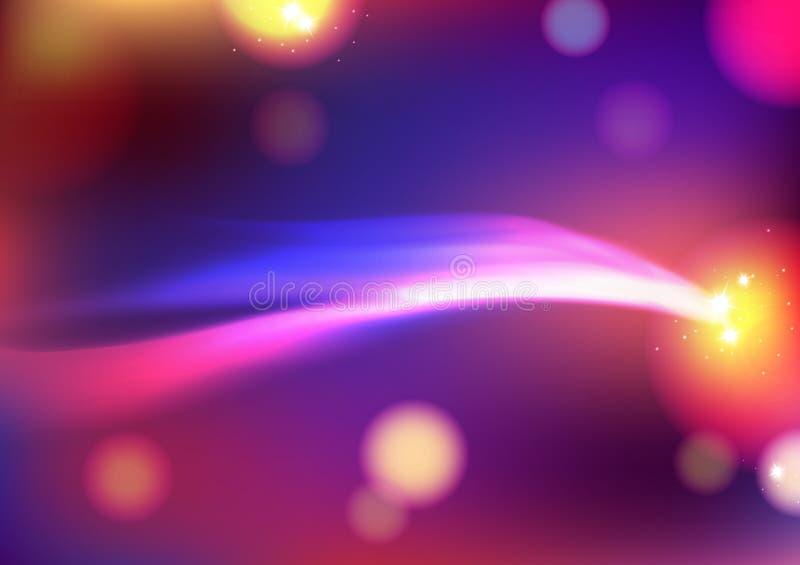 Κίνηση ακτίνων κυμάτων, διαστημική έννοια γαλαξιών αστεριών με τη μουτζουρωμένη διανυσματική απεικόνιση υποβάθρου φαντασίας ζωηρό διανυσματική απεικόνιση